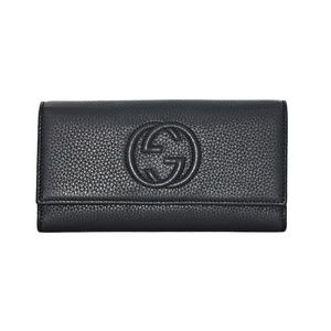 NEW GUCCI SOHO LEATHER FLAP WALLET